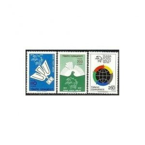 Turkey 1986-1988,MNH.Michel 2335-2337. UPU-100,1974.Globe,Dove.