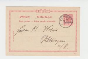 GERMAN EAST AFRICA 1894 5pe on 10pf CARD TANGA CDS  (SEE BELOW)