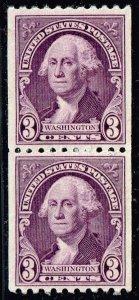 US STAMP #722 – 1932 3c Washington, horizontal perf 10 MNH PAIR