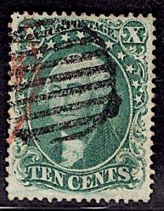 US Stamp #32 10c WashingtonUSED w/ + $35 Red Cancel SSCV $225. 4 Margins!!