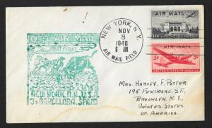 UNITED STATES First Flight Cover 1948 New York to Barcelona