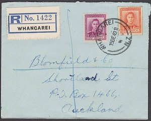 NEW ZEALAND 1949 GVI 6d rate Registered cover ex WHANGAREI..................B592