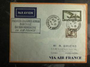 1938 Saigon Hanoi Vietnam Hong Kong FFC First Flight Cover Air France 200 Flown