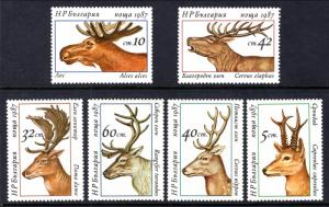 Bulgaria MNH 3256-61 Deer 1987