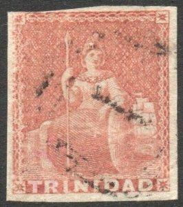 TRINIDAD-1853 1d Brownish Red Sg 7 GOOD USED V41376