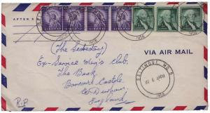 United States 1954 Liberty 1c Washington Coil Strip of 3 and 3c Statue of Lib...