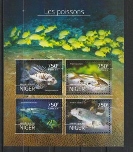 Niger MNH S/S Fish 2014 4 Stamps