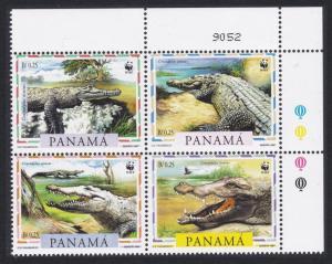 Panama WWF American Crocodile 4v Top Right Corner Block of 4 SG#1590-1593