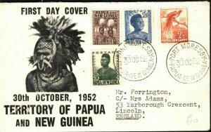 PAPUA & NEW GUINEA FDC Port Moresby 1952 Illustrated First Day Cover PB360