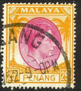 MALAYA PENANG 1949-52 KGVI 25c Portrait Issue Sc 16 VFU