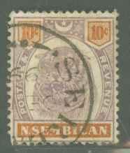 Malaya Negri Sembilan 10 Used F-VF