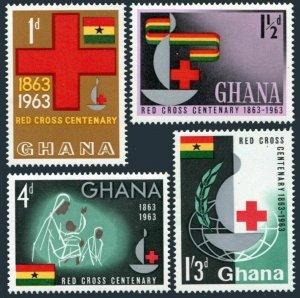 Ghana 139-142,142a sheet, MNH. Michel 145-148, Bl.8. Red Cross Centenary, 1963.