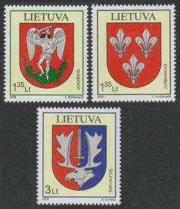 2008 Lithuania 992-994 Ancient Coats of Arms XVII