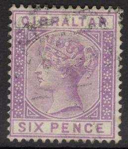 GIBRALTAR SG13 1887 6d LILAC USED