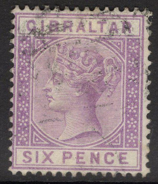 GIBRALTAR SG13 1887 6d LILAC USED