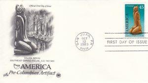 1989, 45c America-Pre-Columbian Artifact, Artcraft/PCS, FDC (E9206)