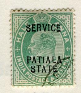 INDIA PATIALA;  1907 early Ed VII SERVICE Optd. issue fine used 1/2a. value