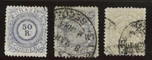 Brazil Scott 93-95 Used 1887 set CV$49