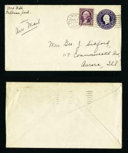 Air Mail Cover Pullman, Washington to Aurora, Illinois dated 12-1-1937