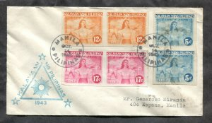 p183 - PHILIPPINES 1943 FDC Cover. Imperforate Stamps Pairs