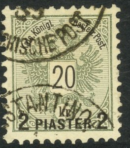 AUSTRIAN OFFICES IN TURKEY 1888 2pi on 20kr ARMS Sc 18 VFU