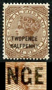 Natal SG109 2 1/2d on 4d Brown VARIETY TWOPENGE Cat 70 pounds Fresh