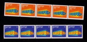 Sweden Sc 814-815 Mint NH MNH Europa Cept Two Strips Of Five VF