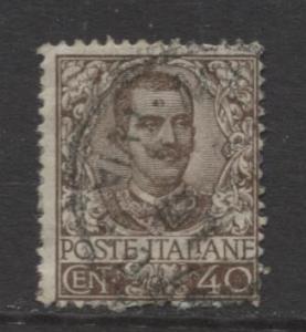 Italy - Scott 83 - Victor Emanuel III -1901 - Used - 40c - Brown Stamp