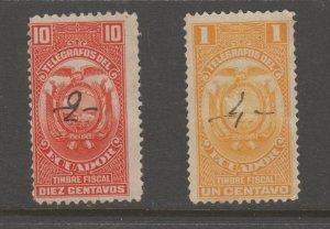 Ecuador Cinderella Revenue Fiscal Stamp -6-2-7 telegraph