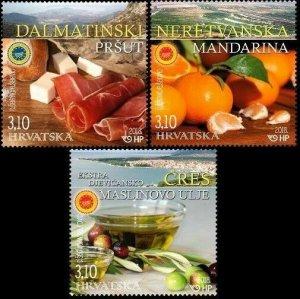 CROATIA/2018, PROT. CROA. AGRI. AND FOOD PRO. (Prosciutto, Tangerines, Oil) MNH