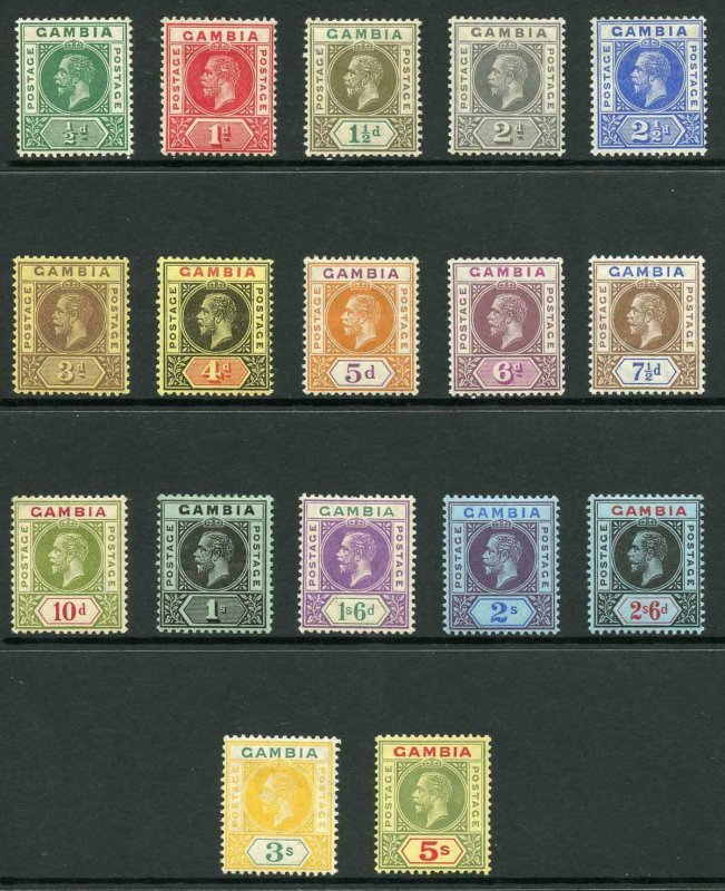 Gambia SG86/102 1912-20 KGV Wmk Mult Crown CA Set of 17 M/M