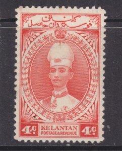 KELANTAN, 1937 Sultan Ismail, 4c. Scarlet, lhm.