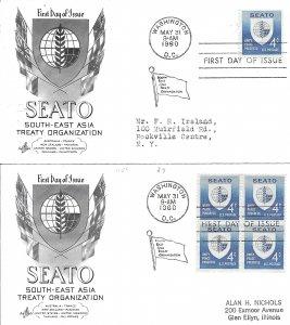 #1151, 4c SEATO, Art Craft cachet, single/block of 4
