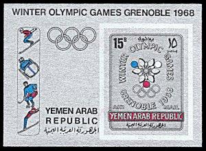 Yemen AR Michel Block 61B, MNH imperf., Grenoble Winter Olympics souvenir sheet