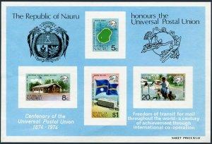 Nauru 117a,MNH.Michel Bl.1. UPU-100,1974.Map,P.O.Mailman on motorcycle,Flag.