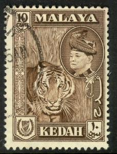 MALAYA KEDAH 1957 10c TIGER Pictorial Issue Scott 88 VFU
