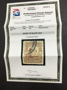 MOMEN: US STAMPS #307 USED PSE GRADED CERT XF-SUP 95