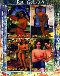 Somalia 2003 PAUL GAUGUIN Nudes Paintings Sheet Perforated Mint (NH)