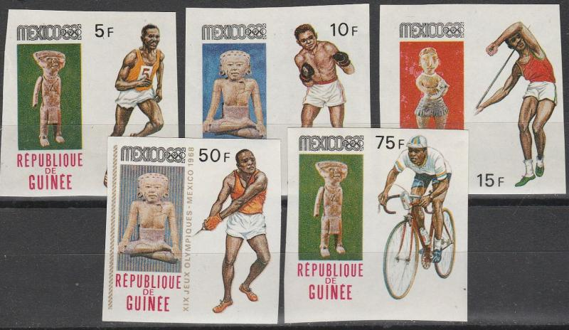 Guinea #522-4, 527-8 MNH Imperf Proofs (A10537)