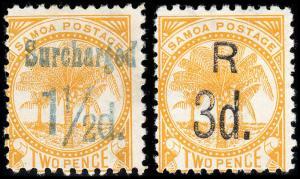 Samoa Scott 24-25 (1895) Mint H F-VF, CV $25.00