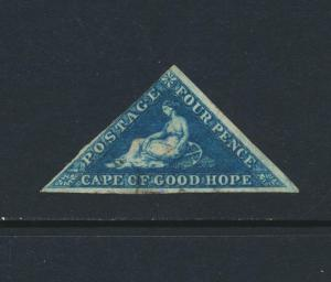 CAPE OF GOOD HOPE 1853, SG#4, 4d DEEP BLUE, VF USED CAT£200 (SEE BELOW)