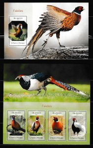 Sao Tome and Principe - BIRDS - Set + S.S. - MNH