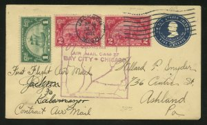 FIRST FLIGHT COVER CAM 27 JACKSON TO KALAMAZOO, MICHIGAN JULY 17, 1928 BL1692
