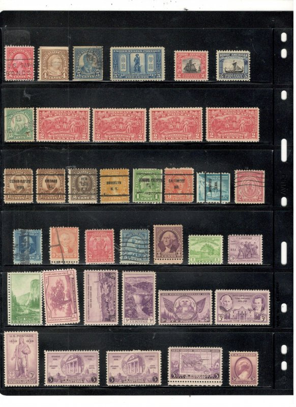 US COLLECTION ON STOCK SHEETS, MINT/USED 1800'S ON