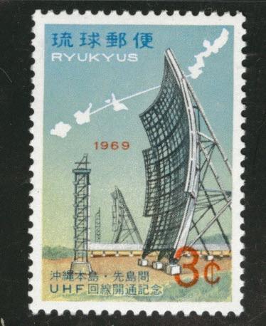 RYUKYU (Okinawa) Scott 183 MNH** 1969 box antenna stamp