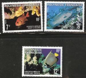 French Polynesia Scott 327-329 MNH** 1980 Fish set