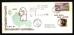 Tahiti 1961 TAI First Flight Cover to LA - Z17803