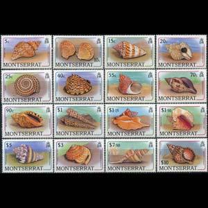 MONTSERRAT 1988 - Scott# 681-96 Sea Shells Set of 16 NH
