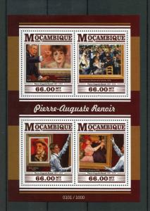 Mozambique MNH S/S Renoir Paintings 2015 4 Stamps