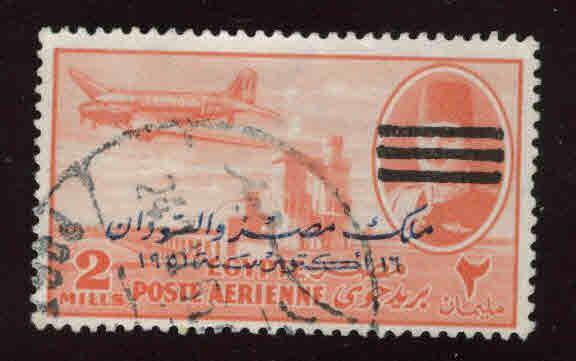 EGYPT Scott C78 Used 1953 Bar obliterated and overprinted airmail